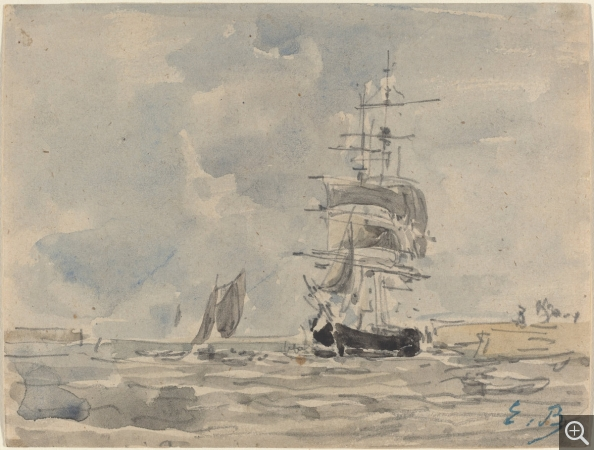 Eugène BOUDIN (1824-1898), Marine avec voilier, ca. 1875, aquarelle et crayon sur papier, 11,5 x 15,1 cm. Ailsa Mellon Bruce Collection. © Washington, National Gallery of Art