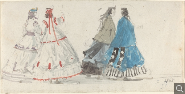 Eugène BOUDIN (1824-1898), Quatre dames en crinolines marchant à Trouville, ca. 1865, watercolour and black pencil on wove paper, 12.1 x 23.8 cm. . © Washington, National Gallery of Art