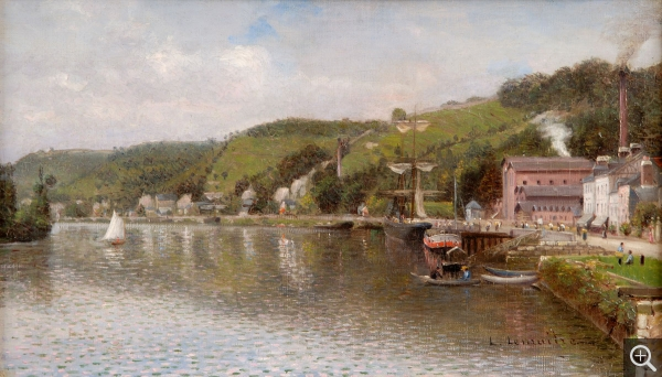 Léon-Jules LEMAÎTRE (1850-1905), Banks of the Seine, Croisset, 1888, oil on canvas, 27 x 46 cm. Rouen, association des Amis de l'École de Rouen. © Dominique Langlois