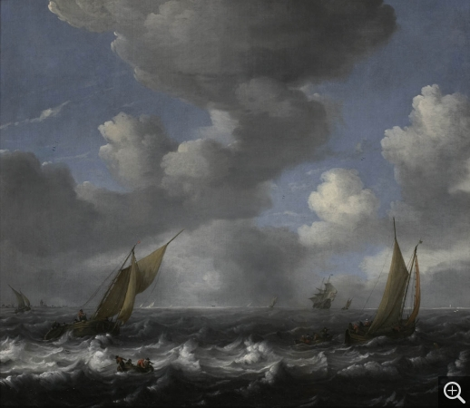 Ludolf  BACKHUYSEN I (1630-1708), Seascape and Fishing Boats, oil on canvas, 84.5 x 97.3 cm. © MuMa Le Havre / Florian Kleinefenn