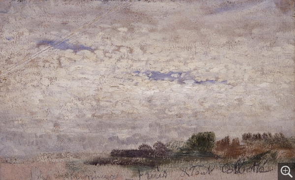 "Eugène BOUDIN (1824-1898), Fresh and All ""Curdled"", ca. 1848-1853, oil on paper, 10 x 16 cm. © MuMa Le Havre / Florian Kleinefenn"