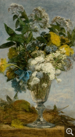 Eugène BOUDIN (1824-1898), Flowers in a Glass, 1862-1869, oil on wood, 41 x 24 cm. © MuMa Le Havre / Florian Kleinefenn