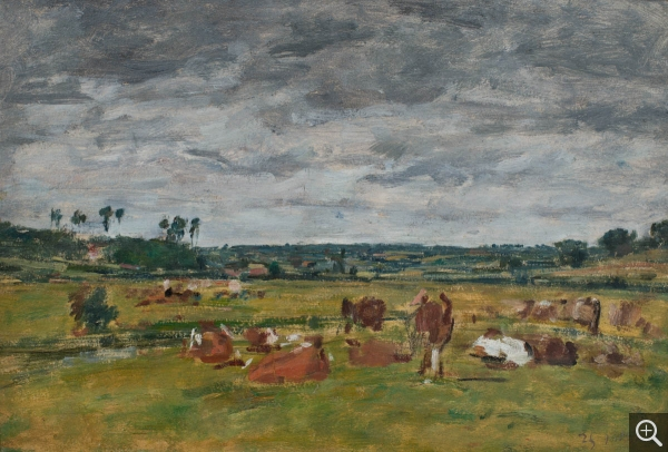 Eugène BOUDIN (1824-1898), Landscape with Cows, ca. 1880-1888, oil on board, 20 x 33 cm. © MuMa Le Havre / David Fogel