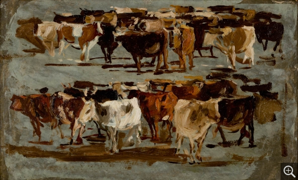 Eugène BOUDIN (1824-1898), The cows, ca. 1881-1888, oil on board, 20 x 33 cm. © MuMa Le Havre / Florian Kleinefenn