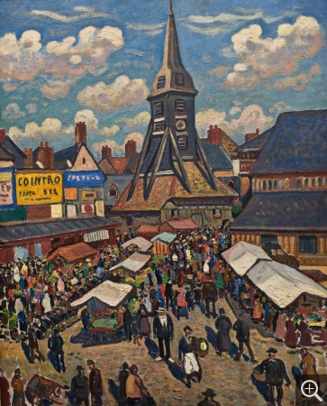 Henri Liénard de SAINT-DÉLIS (1878-1949), Market in Honfleur, oil on canvas, 81 x 65 cm. © MuMa Le Havre / David Fogel