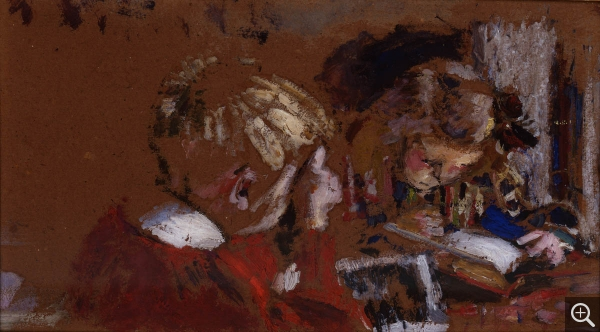 Édouard VUILLARD (1868-1940), Children Reading, 1906, oil on board, 14.5 x 26 cm. © MuMa Le Havre / Florian Kleinefenn