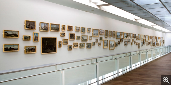 Interior view, wall of Boudin artworks (mezzanine). © MuMa Le Havre / Florian Kleinefenn