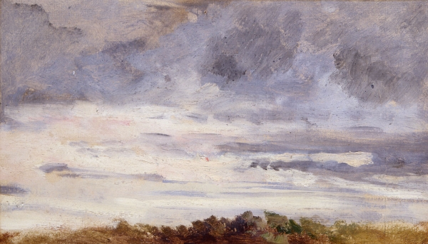 Eugène BOUDIN (1824-1898), Sky, Setting Sun, Bushes in Foreground, ca. 1848-1853, oil on paper, 11 x 19.5 cm. © MuMa Le Havre / Florian Kleinefenn