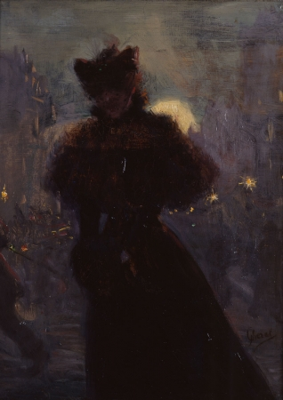 Jules CHÉRET (1836-1932), Woman in Black with Muff, ca. 1885, oil on canvas, 33 x 25 cm. © MuMa Le Havre / Florian Kleinefenn