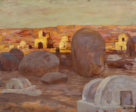 Charles COTTET (1863-1925), Sudanese Village (Aswan 1895), 1895, oil on paper pasted on panel, 32.3 x 41.5 cm. © MuMa Le Havre / Florian Kleinefenn