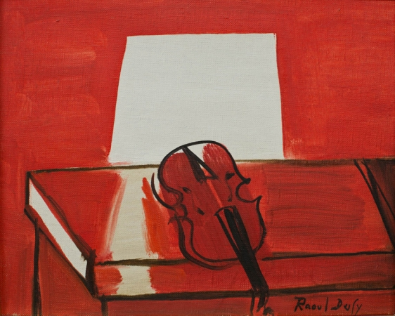 Raoul DUFY (1877-1953), The Red Violin, 1949, oil on canvas, 22.5 x 27.5 cm. © MuMa Le Havre / David Fogel — © ADAGP, Paris, 2013