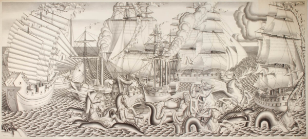 Jean-Théodore DUPAS (1882-1964), The Chariot of Poseidon, 1934, pencil on cloth-lined paper, 221 x 477 cm. © MuMa Le Havre / Charles Maslard
