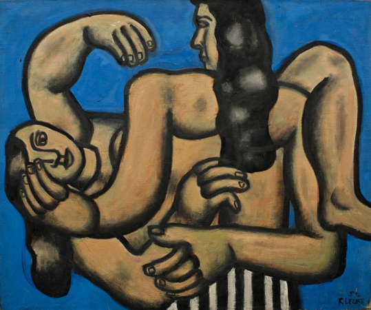 Fernand LÉGER (1881-1955), Two Women on a Blue Background, 1952, oil on canvas, 54 x 65 cm. © MuMa Le Havre / David Fogel — © ADAGP, Paris, 2013