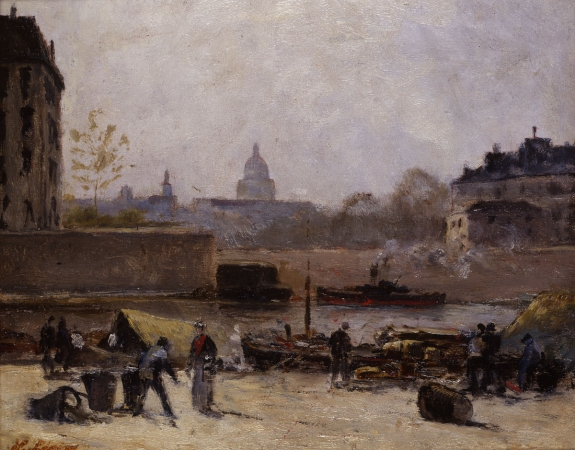 Stanislas LÉPINE (1835-1892), The Seine with View of the Pantheon, ca. 1884-1888, oil on wood, 21.5 x 26.8 cm. © MuMa Le Havre / Florian Kleinefenn