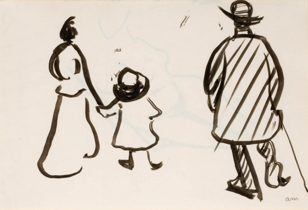 Albert MARQUET (1875-1947), Woman, Child and Man from Behind, ca. 1904, black ink on wove paper, 19.5 x 27.6 cm. © MuMa Le Havre / Charles Maslard — © ADAGP, Paris, 2013