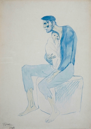 Pablo PICASSO (1881-1973), The Beggar, 1904, watercolour on paper, 36 x 26 cm. © MuMa Le Havre / Charles Maslard — © Succession Picasso, 2013