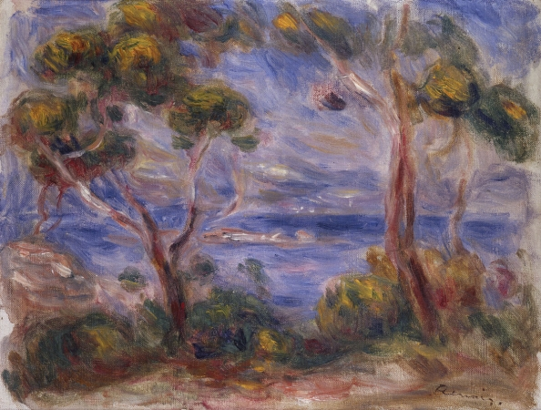 Pierre-Auguste RENOIR (1841-1919), Pines at Cagnes, ca. 1919, oil on canvas, marouflage on cardboard, 31.5 x 38.7 cm. © MuMa Le Havre / Florian Kleinefenn
