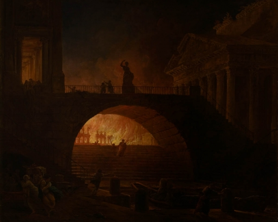 Hubert ROBERT (1733-1808), The Fire of Rome, vers 1771, oil on canvas, 75.5 x 93 cm. © MuMa Le Havre / Florian Kleinefenn