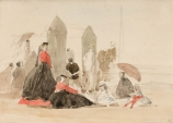 Eugène BOUDIN (1824-1898), Crinolines and Cabins, 1865, black pencil, graphite and watercolour on laid paper, 16.7 x 23.7 cm. © MuMa Le Havre / Charles Maslard