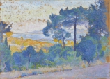Henri Edmond CROSS (1856-1910), Study for Provençal Landscape, 1898, oil on wood, 23 x 32 cm. © MuMa Le Havre / Charles Maslard