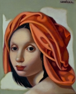 Tamara de LEMPICKA (1898-1980), The Orange Turban II, ca. 1945, oil on canvas, 30.5 x 26 cm. © MuMa Le Havre / David Fogel — © ADAGP, Paris, 2013