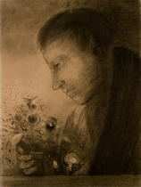 Odilon REDON (1840-1916), Profile of a Man with a Bouquet of Flowers, ca. 1880-1885, charcoal with black pencil, smudging, marks of erasing on vellum paper, 48.1 x 36.2 cm. Senn-Foulds collection. © MuMa Le Havre / Florian Kleinefenn
