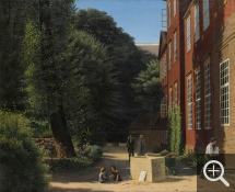 Anonyme, The sculptor Thovaldsen walking in the garden of the Charlottenborg Castle, seat of the Academy, near his studio where a young assistant carries a plaster copy of Cupid with his lyre, taken from an open crate, oil on canvas, 58 x 72 cm. Collection particulière. © A. Leprince
