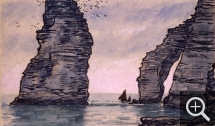 Jean Francis AUBURTIN (1866-1930), Étretat. Boats at the Foot of the Needle, Indian ink, charcoal and watercolour, 38 x 64 cm. Collection particulière. © MuMa Le Havre / Jean-Louis Coquerel