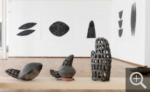 "Vincent BARRÉ (1948), ""Molela"" series, foreground, left to right: Rain Trap #8, (Flat-horned pot), #7, (Two-horned pot), #5, (Hand fish-trap), 2002, earth from Molela, mixed with donkey droppings, and brick dust – fired in an open Awadah oven, water-smoking technique. © MuMa Le Havre / Florian Kleinefenn — © ADAGP, Paris, 2013"