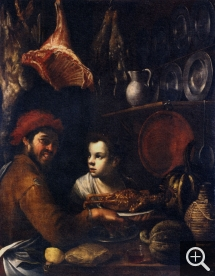 Felice BOSELLI (1650-1732), Cook, Servant and Provisions, oil on canvas, 125 x 98 cm. Nancy, musée des beaux-arts. © mbaN / C. Philippot