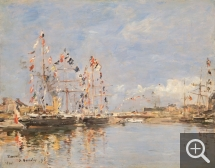 Eugène BOUDIN (1824-1898), Deauville, Flag-Decked Ships in the Inner Harbor, 1896, oil on wood, 32.4 x 41.1 cm. . © Philadelphia Museum of Art