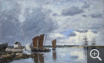Eugène BOUDIN (1824-1898), Bateaux de pêche à Kerhor, 1872, oil on canvas, 40.2 x 65.4 cm. . © Princeton, University Art Museum