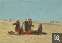 Eugène BOUDIN (1824-1898), Pêcheuses sur la plage de Berck, 1881, huile sur panneau, 24,8 x 36,2 cm. Ailsa Mellon Bruce Collection. © Washington, National Gallery of Art