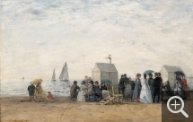 Eugène BOUDIN (1824-1898), The Beach at Trouville, 1867, oil on wood, 31 x 48 cm. . © RMN-Grand Palais / Hervé Lewandowski
