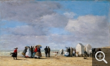 Eugène BOUDIN (1824-1898), The Beach at Trouville, 1865, oil on canvas, 38 x 62.8 cm. . © Princeton, University Art Museum