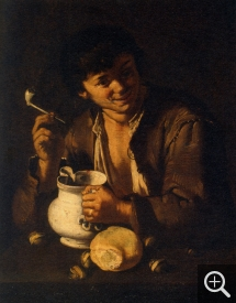 "Giacomo Francesco CIPPER dit ""IL TODESCHINI"" (1664-1736), Young Man with a Pipe, oil on canvas, 75 x 57 cm. © Chambéry, musée des beaux-arts"