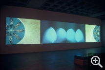 Dana CLAXTON (1959), Rattle, 2003, video installation with 4 channels (4 DVD), 140 x 365 cm. Collection of the artist. © Dana Claxton