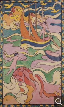 Maurice DENIS (1870-1943), The Boat, Stained Glass Project, 1894, gouache on cloth-lined paper, 132 x 81 cm. © Saint-Germain-en-Laye, musée départemental Maurice-Denis, Le Prieuré