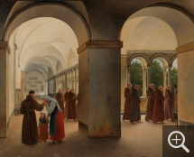 Christoffer Wilhelm ECKERSBERG (1783-1853), Procession of monks in the cloister of the Basilica San Paolo Fuori le Mura in Rome, oil on canvas, 44.5 x 55 cm. Collection particulière. © A. Leprince