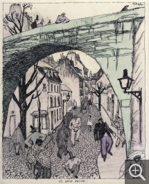 Lyonel FEININGER (1871-1956), The Green Bridge, 1909, quill, Indian ink and watercolour on paper, 25 × 20 cm. Collection particulière. © Maurice Aeschimann — © ADAGP, Paris, 2015