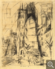 Lyonel FEININGER (1871-1956), Tall Houses II, 1913, quill, Indian ink and charcoal on paper, 32.4 x 23.5 cm. Collection particulière. © All rights reserved — © ADAGP, Paris, 2015