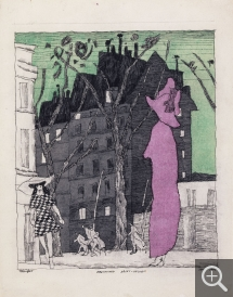 Lyonel FEININGER (1871-1956), Boulevard Saint-Michel, 1915, quill, Indian ink and watercolour on paper, 30.8 x 23.6 cm. Private collection. © Maurice Aeschimann — © ADAGP, Paris, 2015