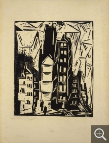Lyonel FEININGER (1871-1956), Old Houses in Paris, 1919, woodcut, 31.1 x 25.4 cm. Collection particulière. © All rights reserved — © ADAGP, Paris, 2015