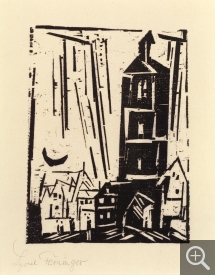 Lyonel FEININGER (1871-1956), Houses and Crescent Moon, 1920, woodcut, 13.3 x 9.8 cm. Private collection. © Maurice Aeschimann — © ADAGP, Paris, 2015
