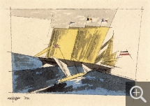 Lyonel FEININGER (1871-1956), Three-masted Schooner, 1934, quill, Indian ink and watercolour on paper, 14.7 x 19.1 cm. Collection particulière. © Maurice Aeschimann — © ADAGP, Paris, 2015