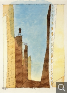 Lyonel FEININGER (1871-1956), IV B (Manhattan), 1937, quill, Indian ink and watercolour on paper, 31.4 x 24 cm. Collection particulière. © All rights reserved - © ADAGP, Paris, 2015