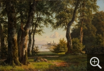 Carsten HENRICHSEN (1824-1897), Forest with view of Kronborg Castle, Helsingor, Denmark, 1876, oil on canvas, 45 x 66 cm. Collection particulière. © A. Leprince