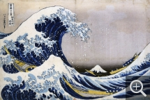 Katsushika HOKUSAI (1760-1849), Sous la vague au large de Kanagawa, ca. 1829-1833, gravure sur bois polychrome, 24,8 x 37 cm. Paris, Bibliothèque nationale de France, département des Estampes et de la photographie. © Paris, BnF