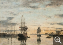 Eugène BOUDIN (1824-1898), Le Havre, l'avant-port au soleil couchant, 1882, oil on canvas, 54 x 74 cm. Collection particulière. © Collection particulière / Tornow