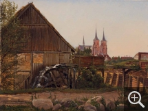 Andreas JUUEL (1817-1868), View of the Roskilde Cathedral with a Mill Courtyard in the Foreground, 1857, oil on paper pasted on wood, 23 x 30 cm. Collection particulière. © A. Leprince